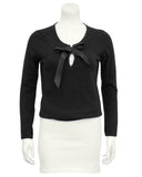 Black Scottish Cashmere Sweater with Thread Through Satin Bow