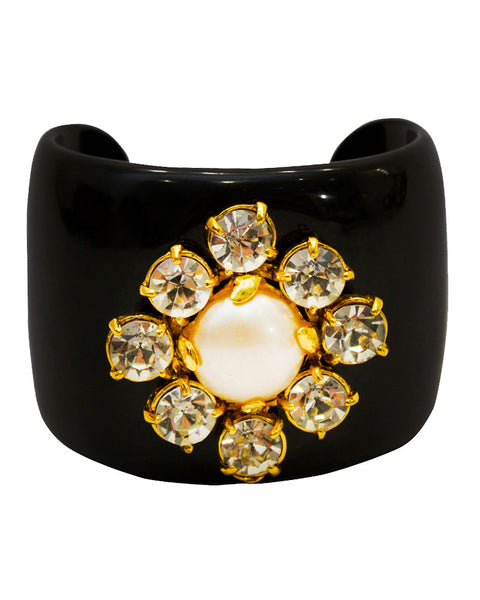 Black Resin and Rhinestone Cuff