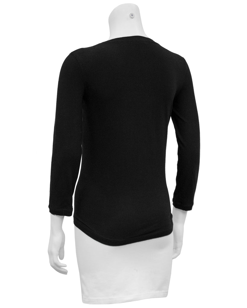 Black Long Sleeve Top with Cut Out and Coin Detail