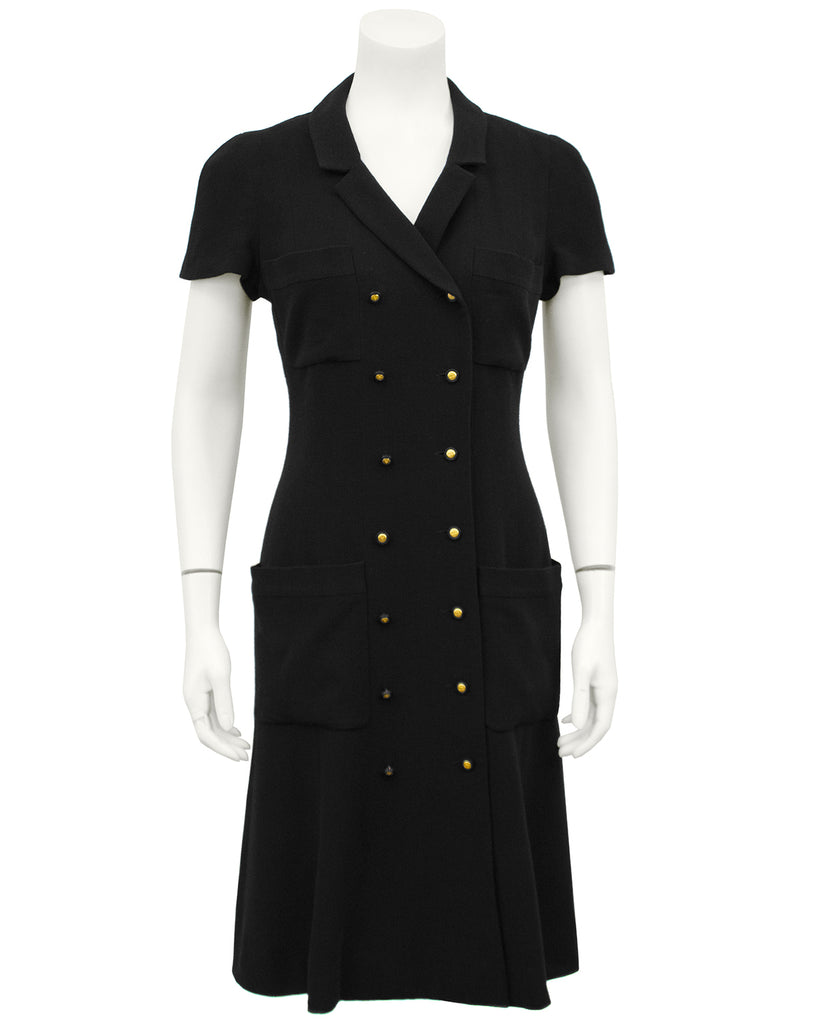 Black Double Breasted Shirt Dress