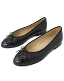 Black Leather Ballet Flats with Black Patent Leather Toe Sz 37
