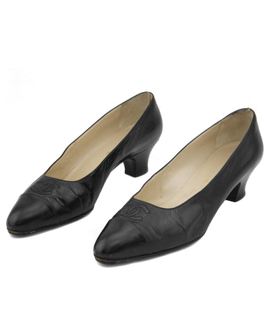 Black Leather Logo Kitten Heels Sz 40