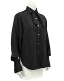 Black Silk Shirt with Necktie