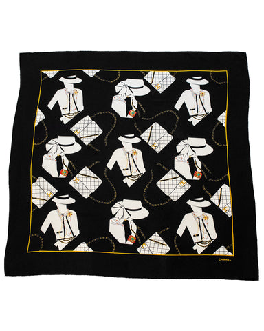 Black Silk Scarf with Coco Graphic