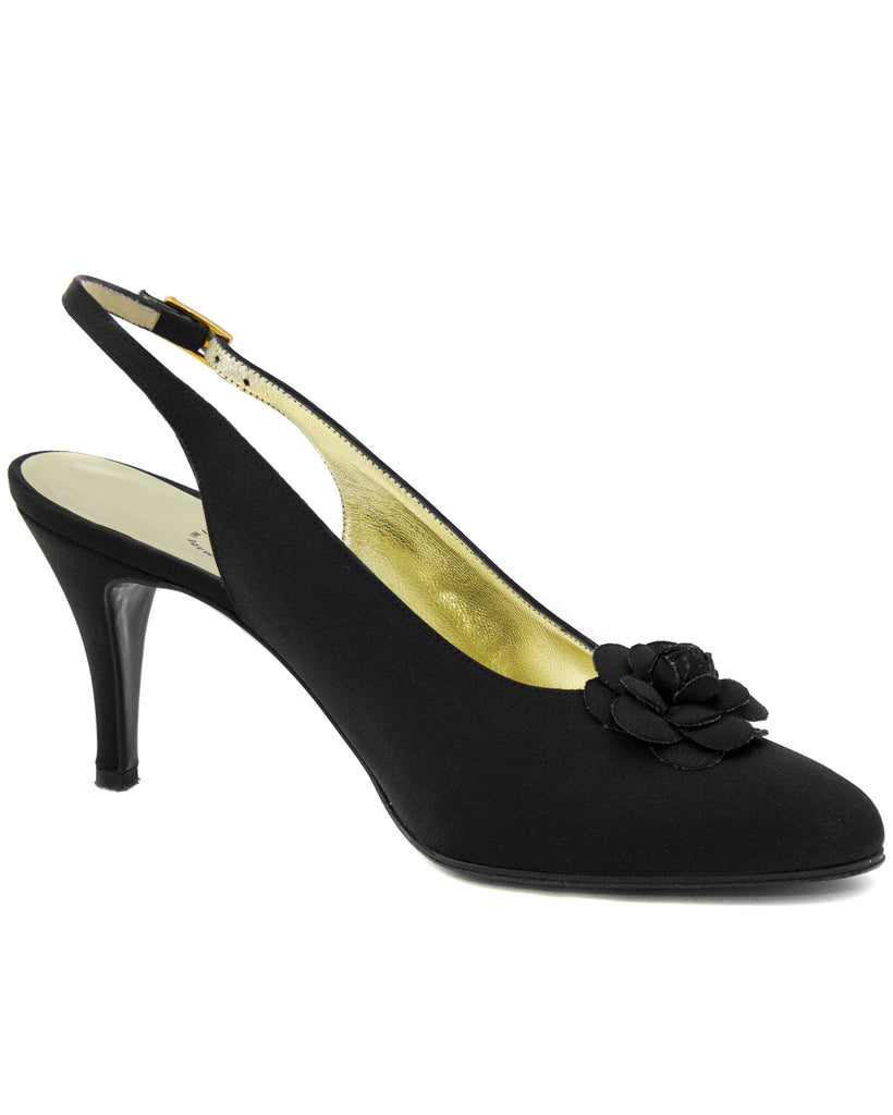 Black Satin Sling Back Shoes With Gardenia