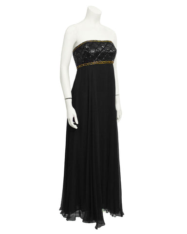 Black Strapless Sequin & Chiffon Gown