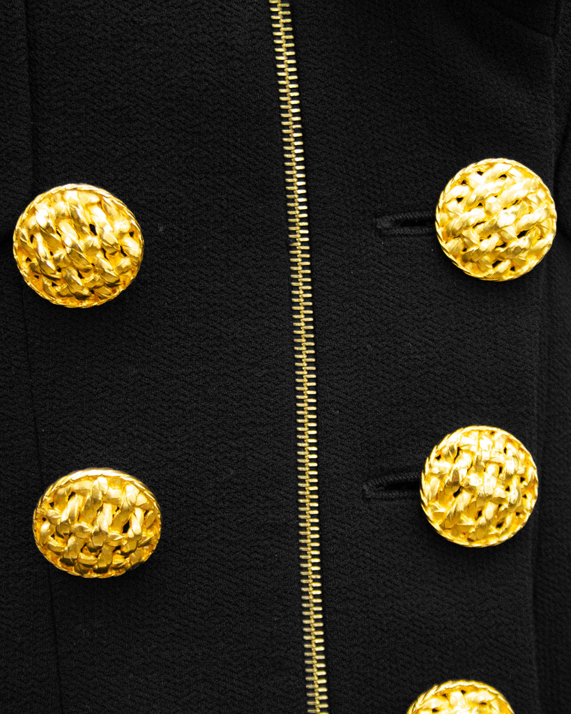 Black Wool Skirt Suit with Large Gold Buttons