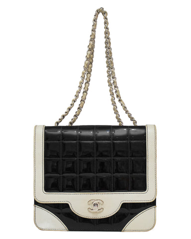 Black and White Patent Leather Shoulder Bag