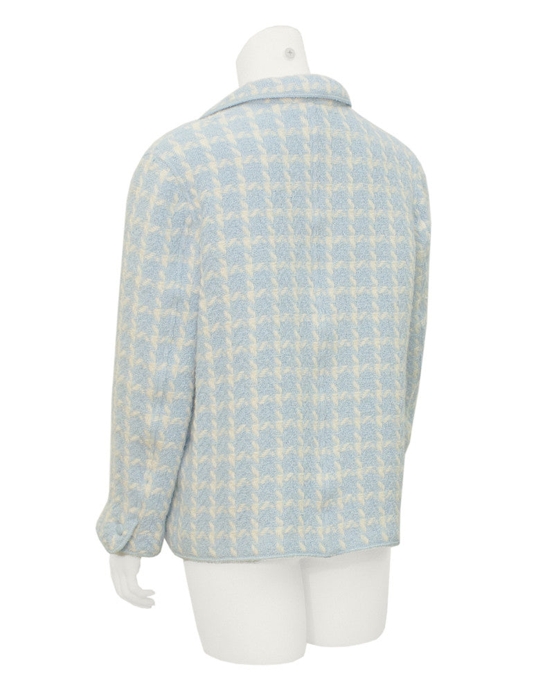 Blue Houndstooth Boucle Jacket