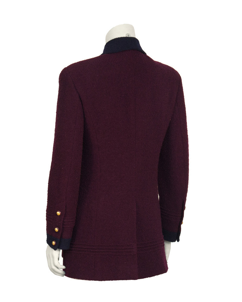Bordeaux and Navy Boucle Jacket
