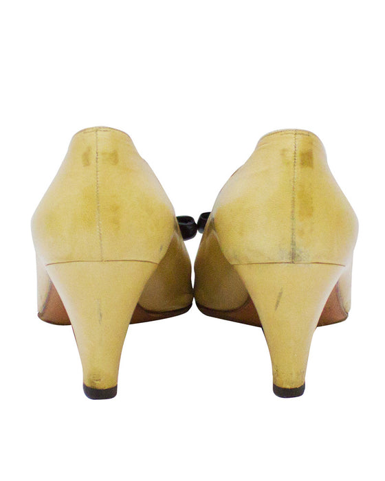 Beige Leather Pumps with Black Cap Toe & Bow