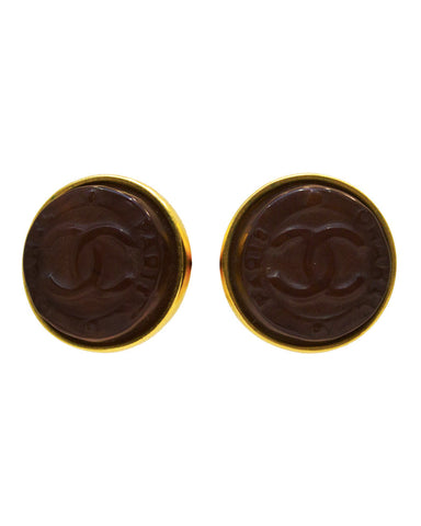 Brown Resin CC Earrings