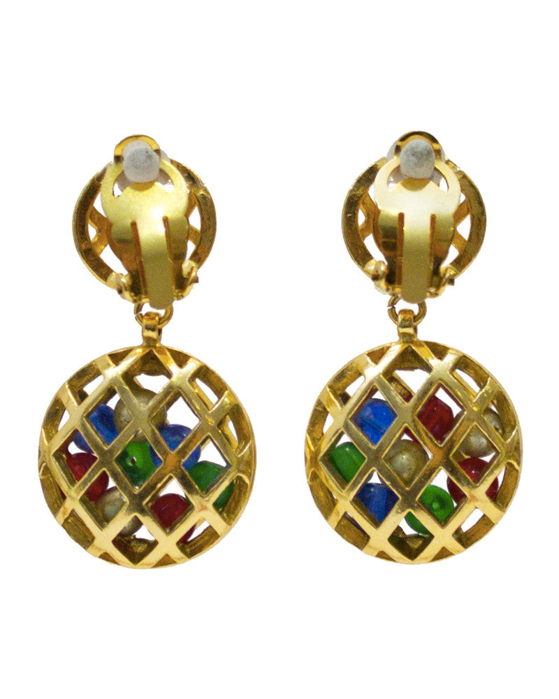 Earrings with Hanging Caged Multicolored Beads