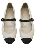 Cream and Black Cap Toe Mary Jane Flats