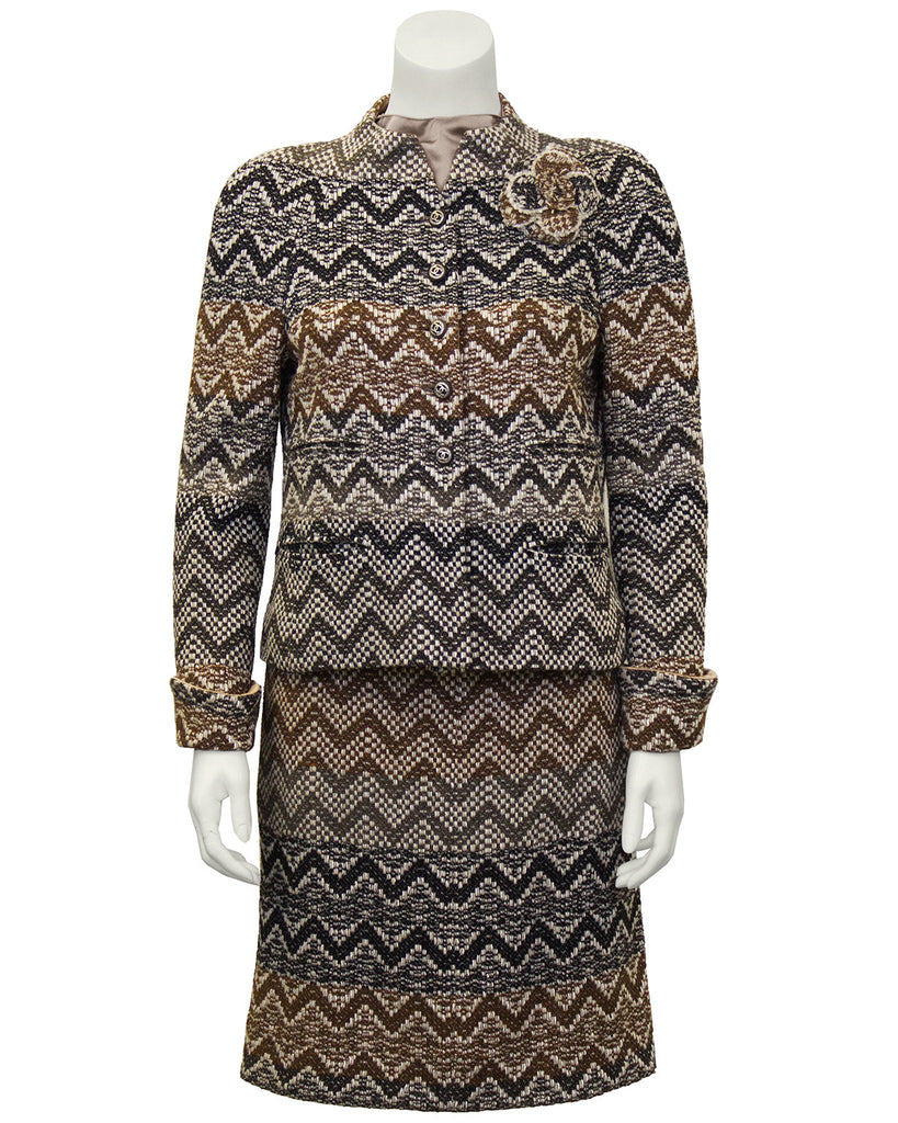 Taupe, Cream and Grey 3 Piece Boucle Skirt Suit