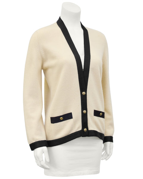 Cream Cashmere Cardigan with Black Silk Trim