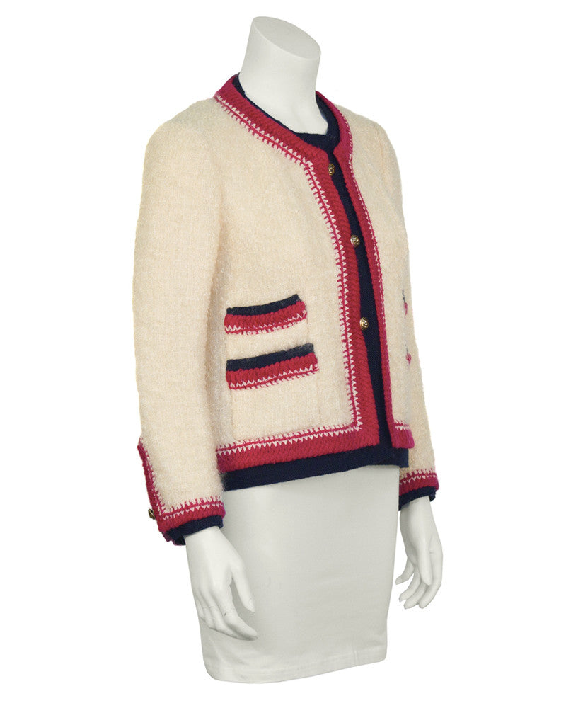 Cream Boucle Jacket with Colorful Trim