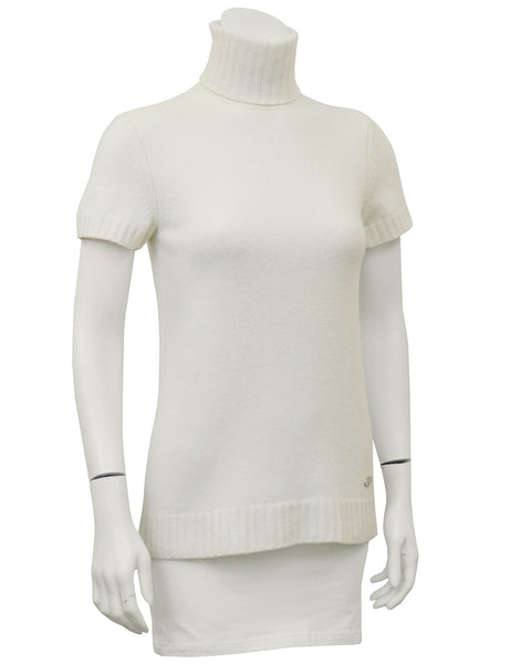 Cream Knit Short Sleeve Turtleneck