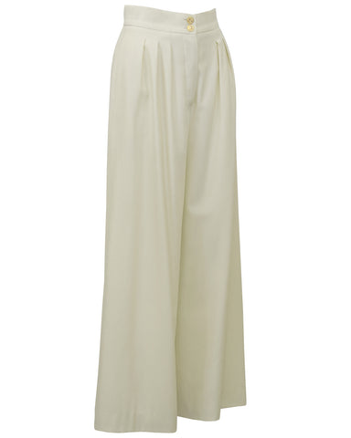 Cream Wool Wide Leg Trousers