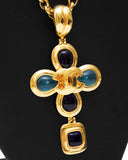 1997 Gold Tone Necklace with Blue Poured Glass Details