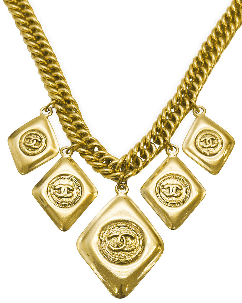 Gold Necklace with Logo Pendents