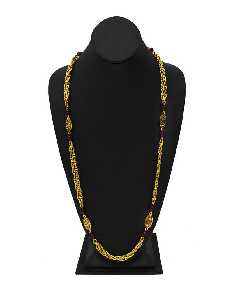 Double Chain Necklace with Red Glass Beads