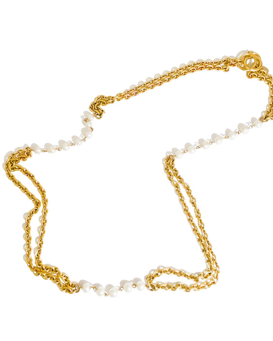 Gold Double Chain Link Necklace with Pearls