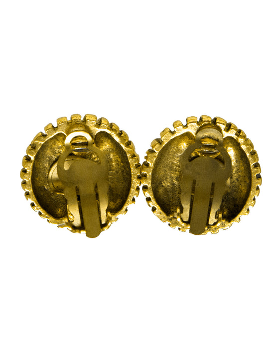 Gold and Rhinestone Clip On Earrings
