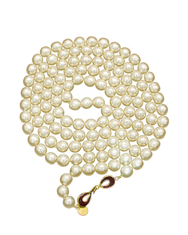 Long Pearl Necklace with Red Stone Clasp