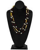 1970's Pearl, Poured Glass and Gold Long Necklace