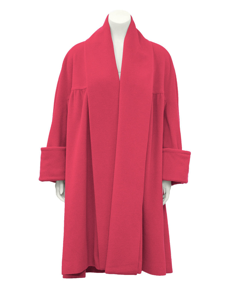 Pink Angora and Wool Swing Coat