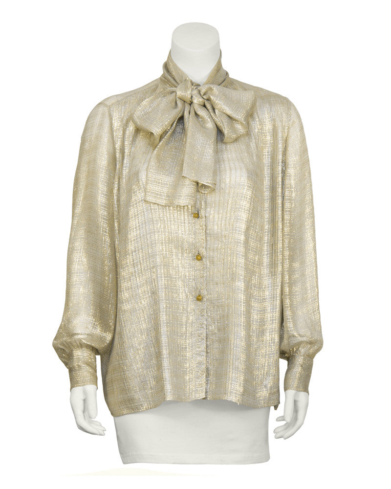 Gold Silk Sheer Blouse with Pussy Bow