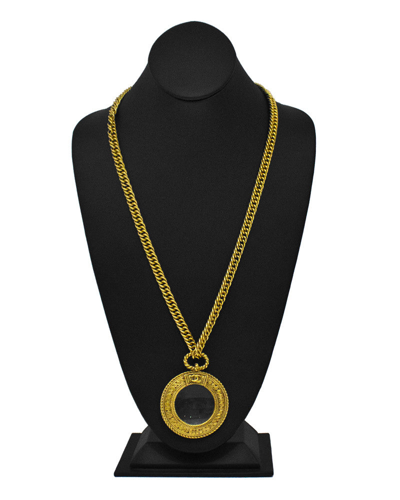 Gold Chain Magnifying Glass Necklace