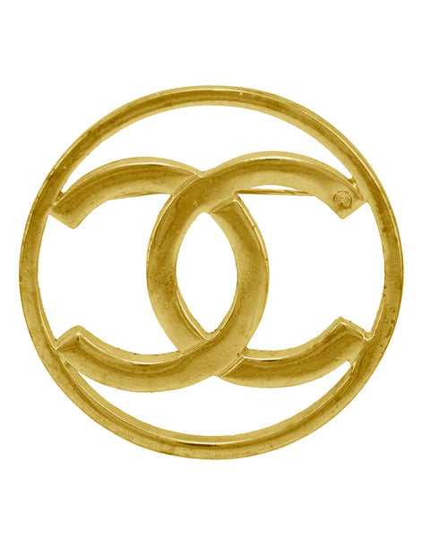 051a502c31b009 Chanel. 14kt Filled Gold CC logo Pin