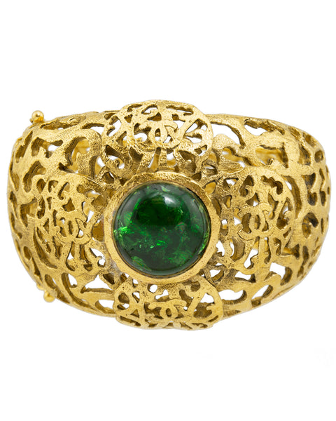 Gold Tone Filigree Cuff With Emerald Green Poured Glass Stone