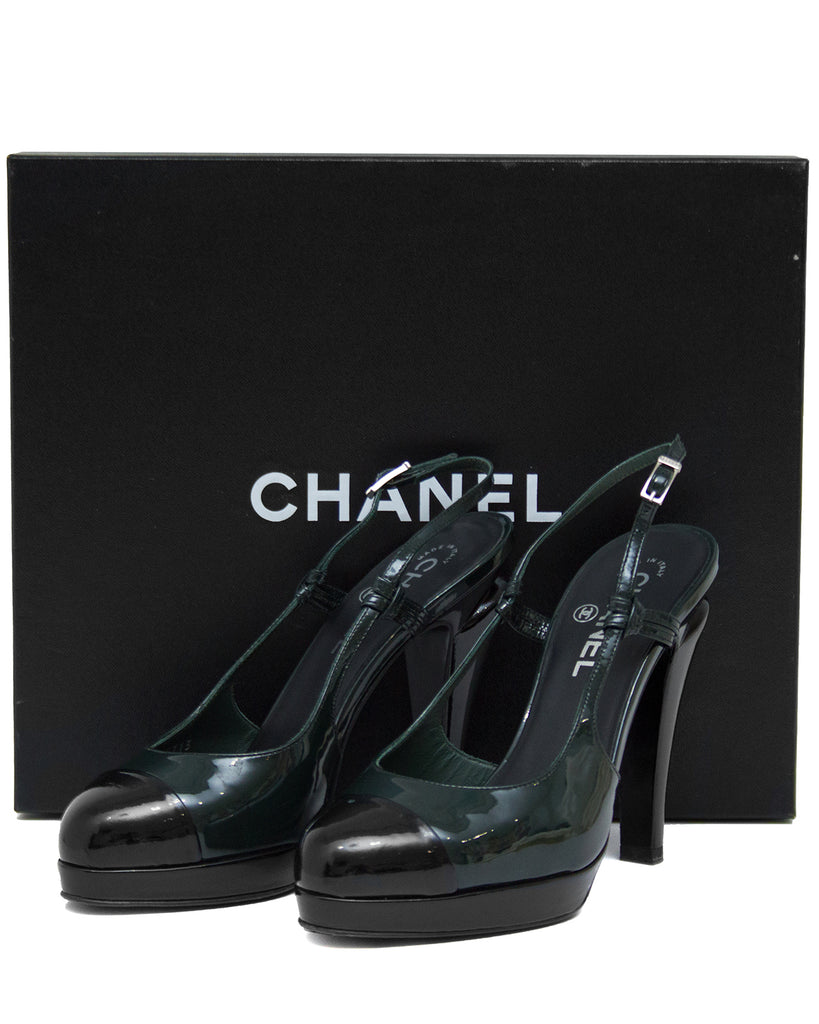 Dark Green and Black Patent Leather Sling Back Heels
