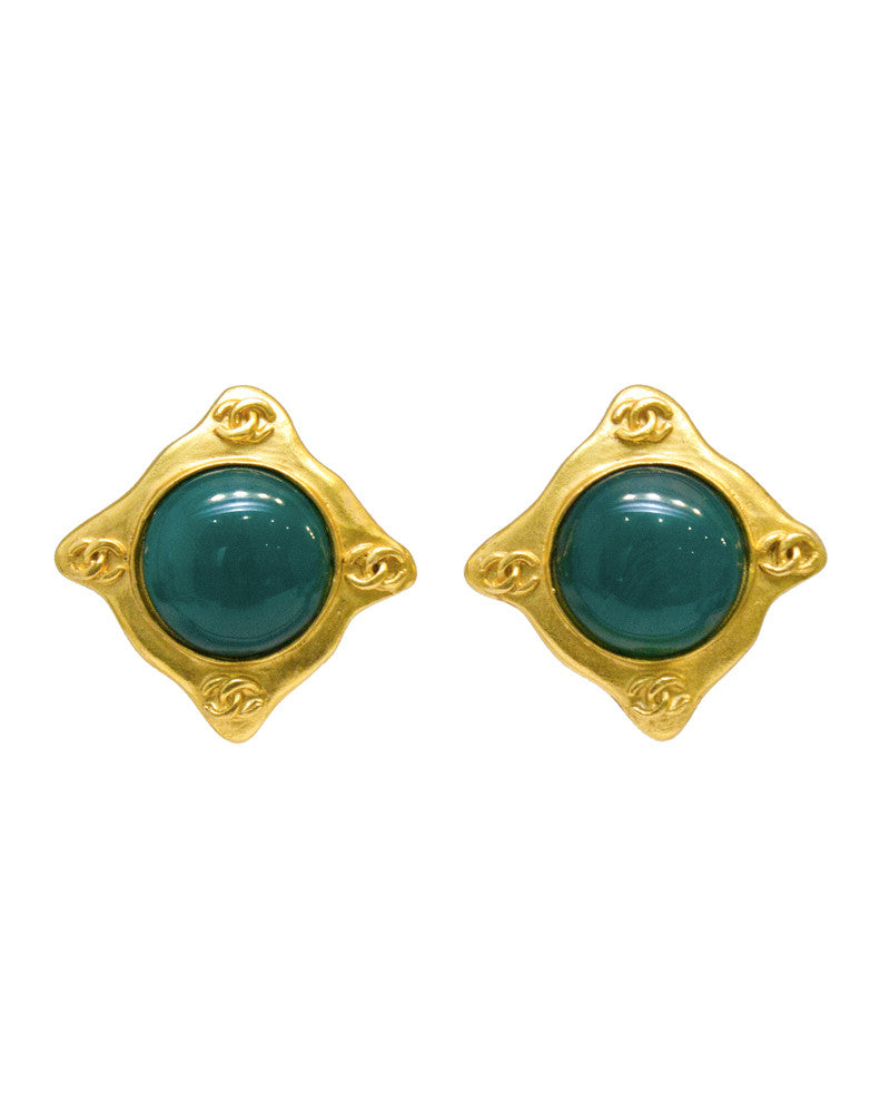 Matte Gold Earrings with Jade Green Glass