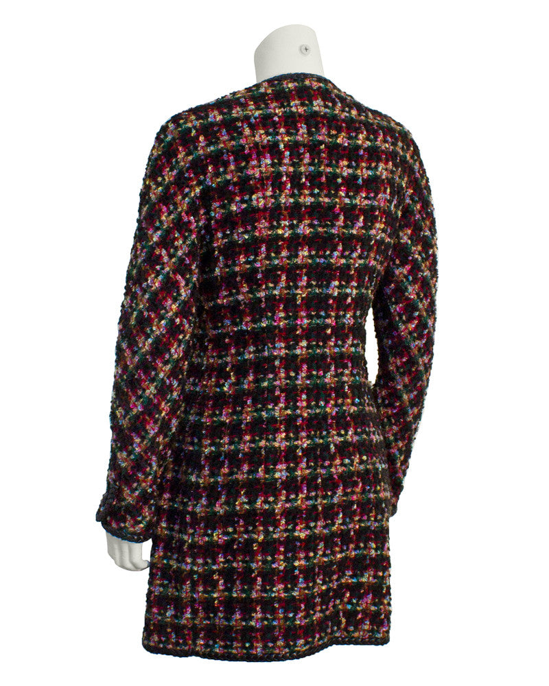 Multi-Color Boucle Long Jacket with Leather Trim