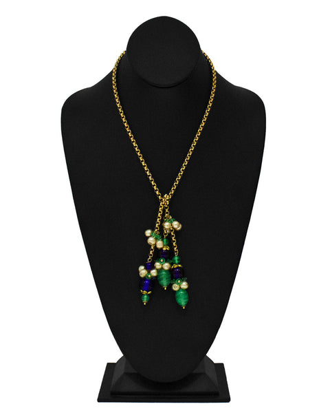 Lariat with Glass Beaded Tassles