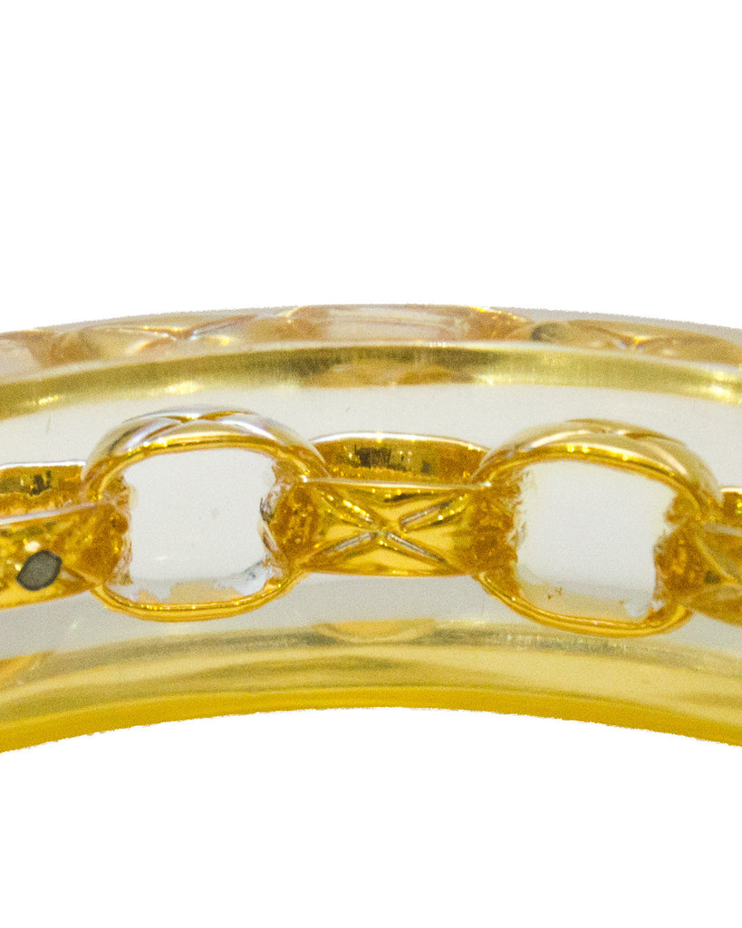 Lucite Bangle With Gold Chain Link Detail