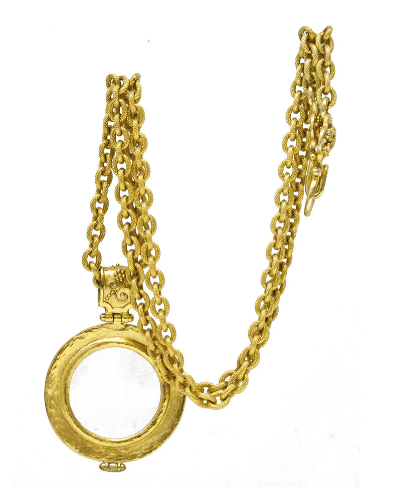 Gold Magnifying Glass Pendant Necklace