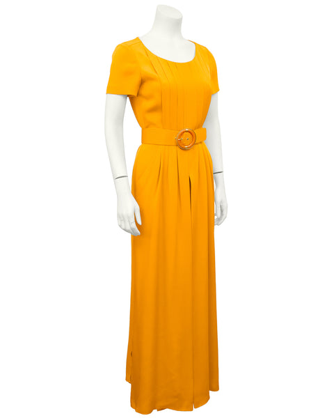Orange Silk Belted Jumpsuit
