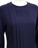 Navy Blue Silk Blouson Top