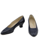 Navy Blue Leather Logo Kitten Heels