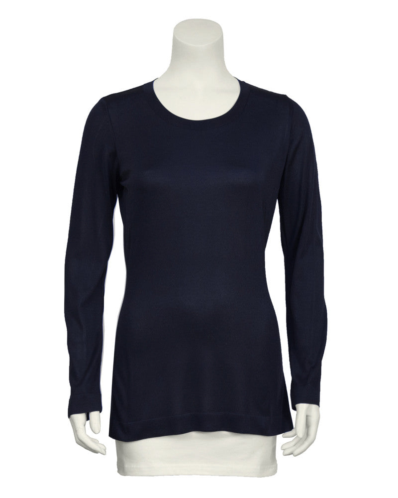 Navy Classic Long Sleeve Top