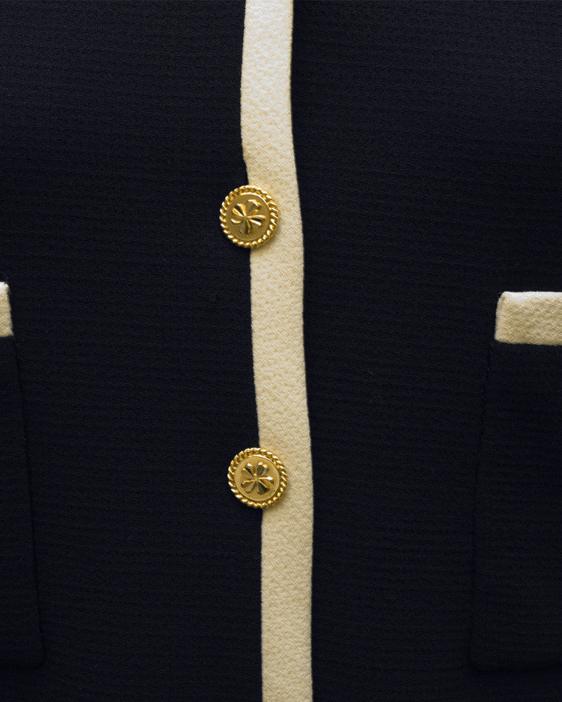 Navy & Cream Skirt Suit