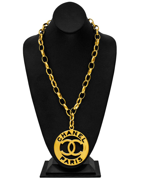 Large Logo Pendant and Chain Link Necklace