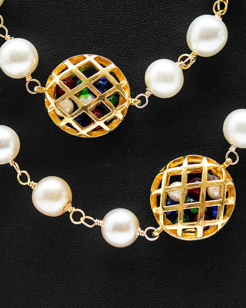 Pearl Necklace with Poured Glass Beads