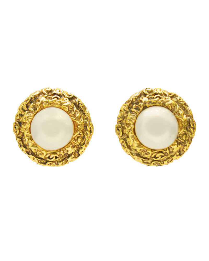 Textured Earrings with Pearl Center
