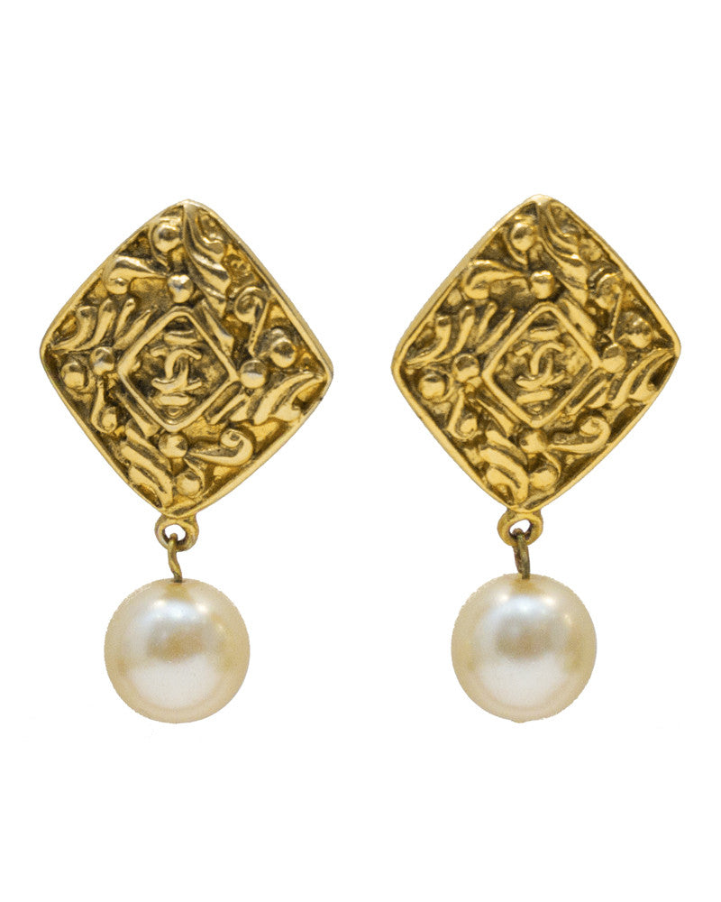 Gold Diamond Shaped Pearl Drop Earrings